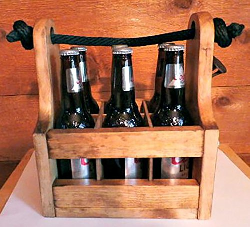 Personalized Wood Beer Caddy With Bottle Opener And Magnetic Bottle Cap Catcher Handmade Rustic Wooden Six Pack Tote Carrier Boxed Split Monogram